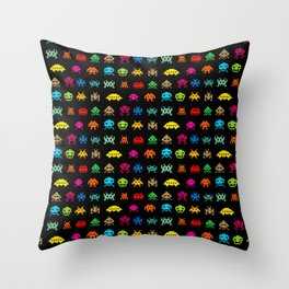 Invaders of Space retro arcade video game pattern design Throw Pillow