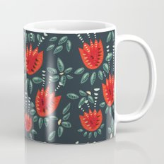 Abstract Red Tulip Floral Pattern Mug