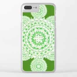 Bright Green Metallic White Mandala Textile Clear iPhone Case