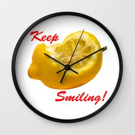 Lemon composition Keep Smiling! Wall Clock