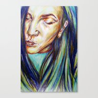 leah flores Canvas Prints featuring Leah by Chloe Gibb