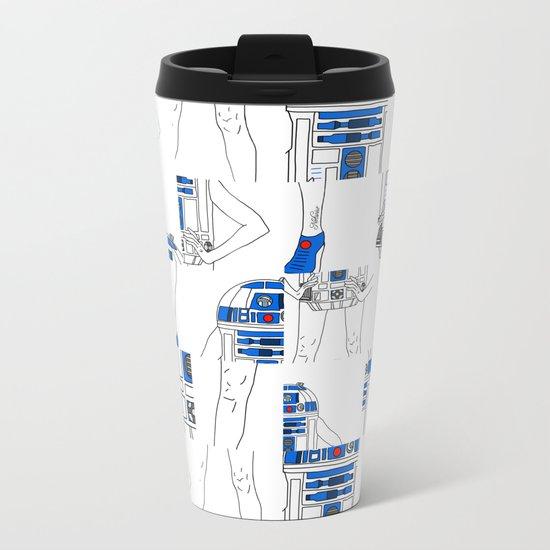 Robot Girl Cubism Metal Travel Mug