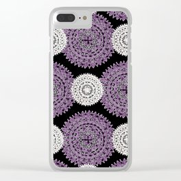 Pearl White and Purple Patterned Mandala Textile Clear iPhone Case