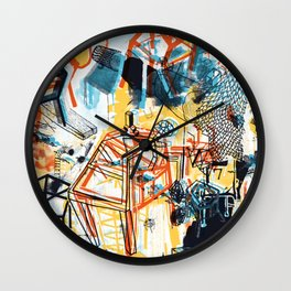 yellowredblueandblack Wall Clock