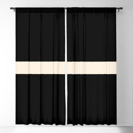 Middle Stripe Minimalist Modern Color Block in Almond Cream and Black Blackout Curtain