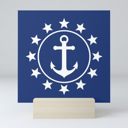 White Anchors & Stars Pattern on Navy Blue Mini Art Print