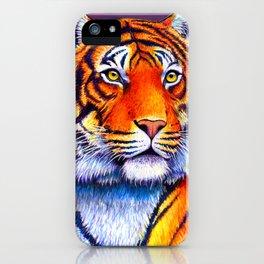 Colorful Bengal Tiger Portrait iPhone Case