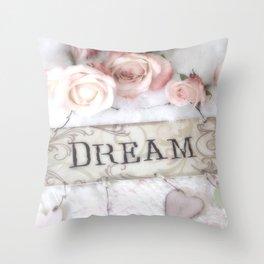Shabby Chic Dream Roses Throw Pillow