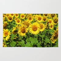 sunflowers Area & Throw Rugs featuring Sunflowers. by Assiyam