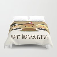 thanksgiving Duvet Covers featuring Happy Thanksgiving by Sara Showalter