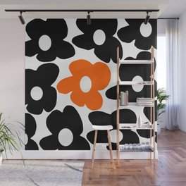 Large Orange and Black Retro Flowers White Background #decor #society6 #buyart Wall Mural