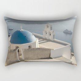 Firostefani Church and Cruise Ships, Santorini Rectangular Pillow