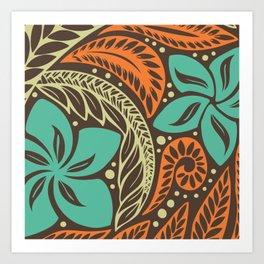Circular Polynesian Blue Brown Orange Floral Tattoo Art Print