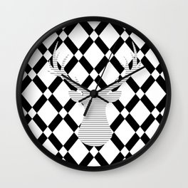 Gray deer - abstract geometric pattern - black and white. Wall Clock