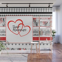just Married Hearts white pattern II Wall Mural