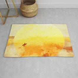 Golden Sun Surf Abstract Art Rug