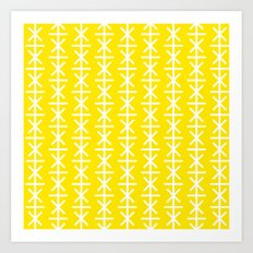 Geometric Pattern #168 (yellow stars) Art Print