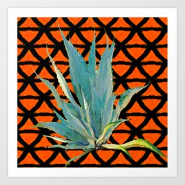 CUMIN ORANGE BLUE DESERT AGAVE CACTI ART Art Print