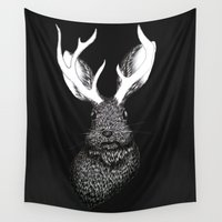 jackalope Wall Tapestries featuring The Jackalope in Black by ECMazur
