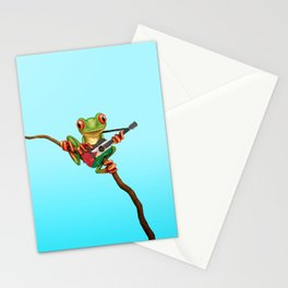 Tree Frog Playing Acoustic Guitar with Flag of Palestine Stationery Cards