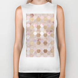 Hexagonal Honeycomb Marble Rose Gold Biker Tank