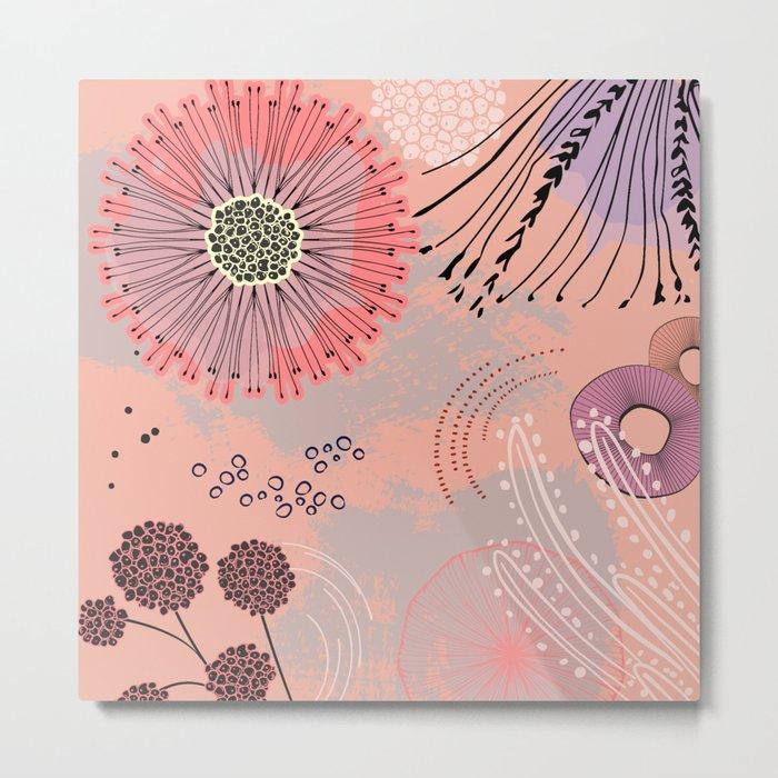 Magic coral flowers Metal Print