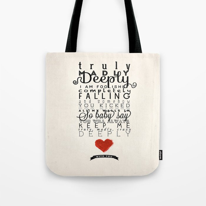 One Direction Truly Madly Deeply Tote Bag