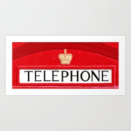 British Red Telephone Box Sign Art Print