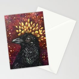 Leaf Crown Crow Stationery Cards