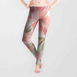 Pink & Coral Cherry Blossoms Watercolor Flowers  Leggings