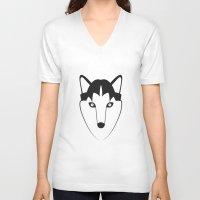 husky V-neck T-shirts featuring Husky by anabelledubois