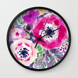 RED ANEMONE SPRAY FLORAL Wall Clock