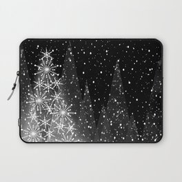 Elegant Black and White Christmas Trees Holiday Pattern Laptop Sleeve