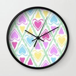 Multi Colored hearts ornament pastel kids childish scribble design Wall Clock