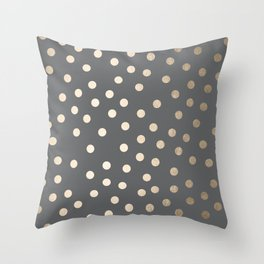 Simply Dots White Gold Sands on Storm Gray Throw Pillow