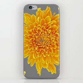 Golden Yellow Chrysanthemums grey color Art Design iPhone Skin