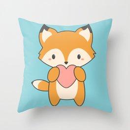Kawaii Cute Fox With Hearts Throw Pillow