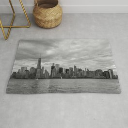 Lower Manhattan in Black and White Rug