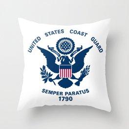 US Coast Guard Flag Throw Pillow