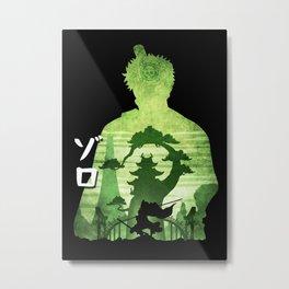Minimalist Silhouette Zoro Wano Metal Print