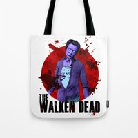 christopher walken Tote Bags featuring The Walken Dead – The Walking Dead Parody – Christopher Walken Zombie by ptelling