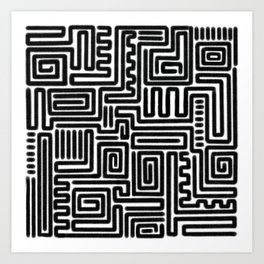 Tribal Maze Pattern (Minimal) Art Print