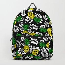 tropical pineapple skulls on black Backpack