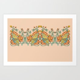 Butterflies over Garden of Thorns and Roses Art Print