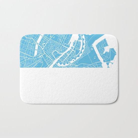 Copenhagen map blue Bath Mat