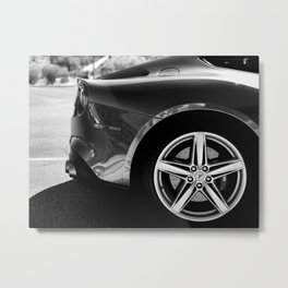 Super Car // Sexy Wheel Base Low Rims Dark Charcol Gray Black and White Metal Print