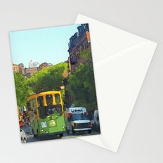 Yellow and green bus on Charles Street Stationery Cards