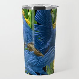 Hyacinth Macaws and bananas Stravaganza (black background). Travel Mug
