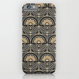 Art Deco Tile Floral (gray and sand) iPhone Case