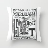 marijuana Throw Pillows featuring SMOKE MARIJUANA by NIGHTJUNKIE